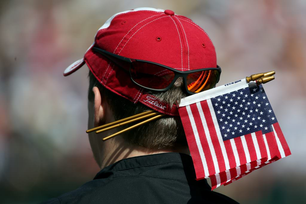 MEDINAH, IL - SEPTEMBER 26: A USA spectator watches the action during the third preview day of The 39th Ryder Cup at Medinah Country Golf Club on September 26, 2012 in Medinah, Illinois. (Photo by Andrew Redington/Getty Images)