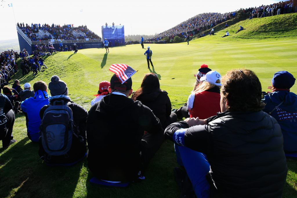 AUCHTERARDER, SCOTLAND - SEPTEMBER 26: Spectators watch the action on the 7th green during the Morning Fourballs of the 2014 Ryder Cup on the PGA Centenary course at the Gleneagles Hotel on September 26, 2014 in Auchterarder, Scotland. (Photo by Jamie Squire/Getty Images)