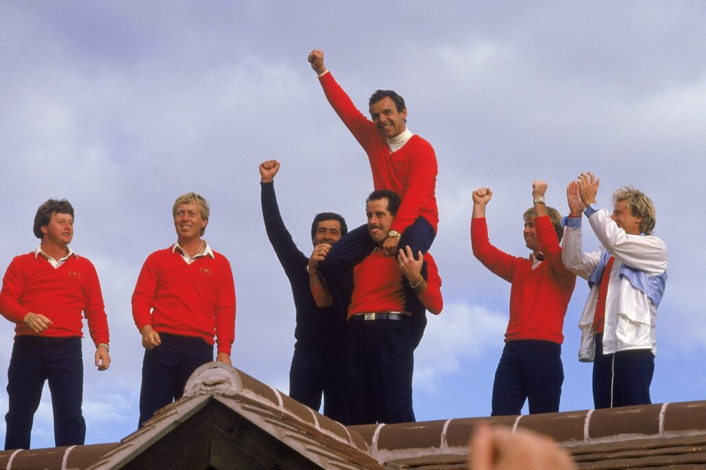 Team Europe celebrating the 1985 Ryder Cup win
