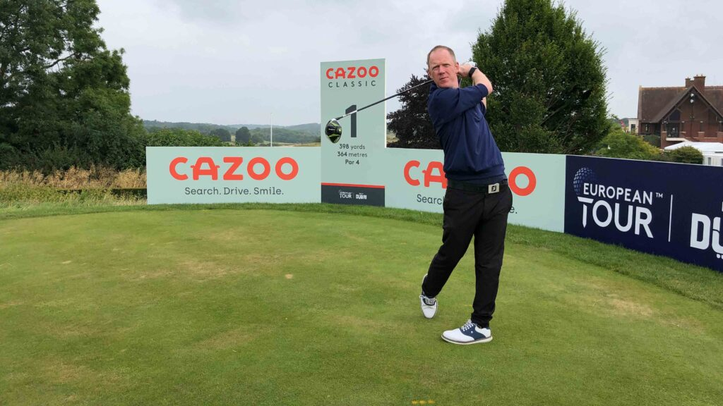What did a club golfer shoot on a European Tour course set-up?